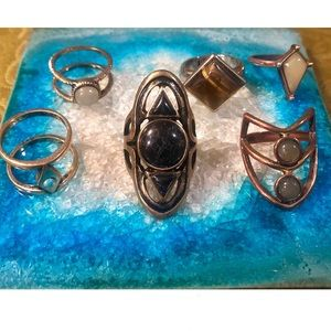 6 Piece Boho Faux Stone Ring Set